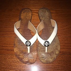 Tory Burch Shoes - Tory Burch white leather flip flops 9